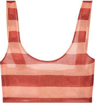 La Perla - Seawind Cropped Striped Silk-organza Top - Blush $325 thestylecure.com
