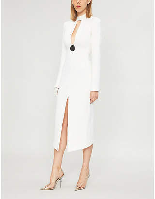 David Koma Cutout wool-blend midi dress