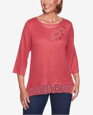 Alfred Dunner News Flash Lace & Appliqué Tunic Top