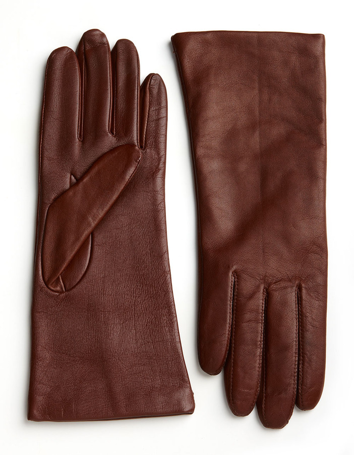 Lord & Taylor Touch Screen Leather Gloves