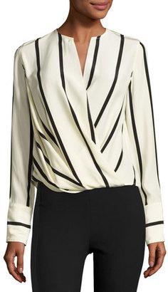 Rag & Bone Max Long-Sleeve Striped Silk Blouse, Beige $395 thestylecure.com