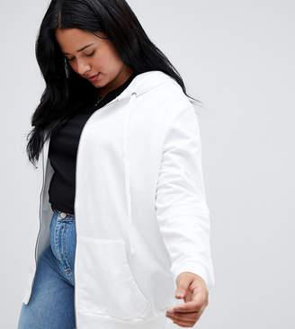 Asos DESIGN Curve zip through hoodie in white