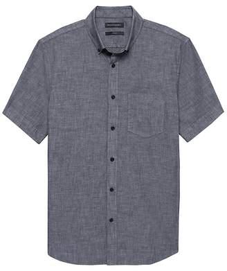 Banana Republic Grant Slim-Fit Luxe Poplin Short-Sleeve Chambray Shirt