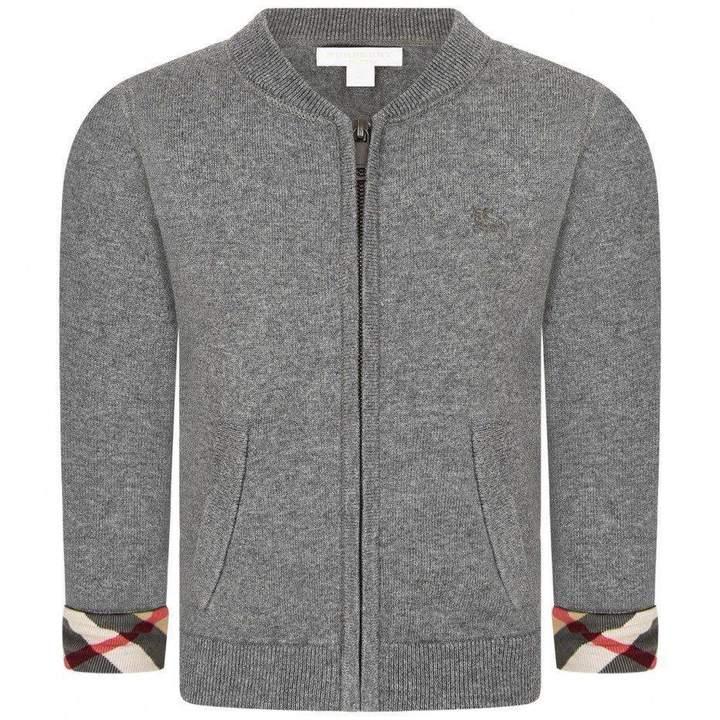 BurberryBaby Boys Grey Cotton Knit Cardigan