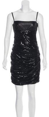 Alexander Wang Leather-Trimmed Sequined Dress