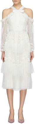 Needle & Thread 'Day Dreamers' floral embroidered tiered off-shoulder tulle dress