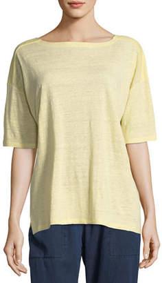 Eileen Fisher Organic Linen Jersey Short-Sleeve Top