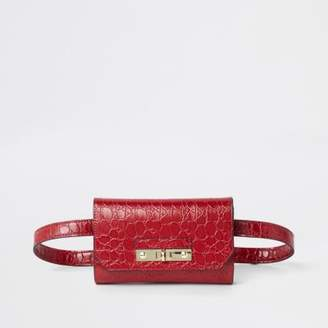 River Island Womens Red Ri Branded Croc Mini Belted Bag