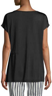 Lafayette 148 New York Side-Tie Short-Sleeve Sweater