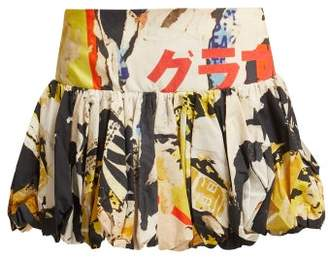 Marques Almeida Marques'almeida - Poster Print Cotton Mini Skirt - Womens - Multi