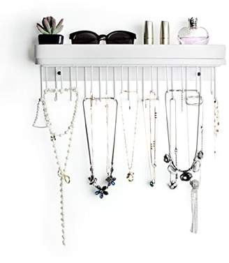JackCubeDesign Hanging Jewelry Organizer Necklace Hanger Bracelet Holder Wall Mount Necklace Organizer with 25 Hooks(White/16.4 x 2.9 x 4.9 Inches) - :MK124C