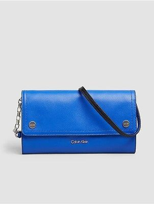 Calvin Klein Calvin Klein Womens Julienne Leather Clutch Dazzling Blue