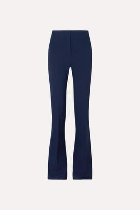 Alexander McQueen Striped Satin-trimmed Grain De Poudre Wool-blend Flared Pants - Blue