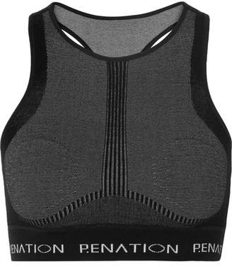 P.E Nation Woolmark Spin Shot Printed Stretch Wool-blend Sports Bra - Black