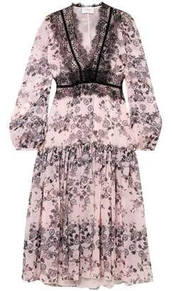 Giambattista Valli Lace-Trimmed Floral-Print Silk-Chiffon Midi Dress