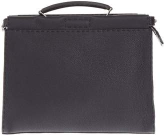 Fendi Leather Zip Briefcase With Stitching Detail