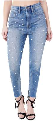 Juicy Couture Faux Pearl Embellished Denim Girlfriend Jean