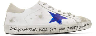 Golden Goose White Hand-Painted Skate Superstar Sneakers