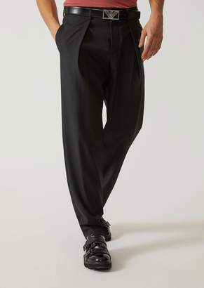 Emporio Armani Trousers In Wool And Silk Blend With Darts