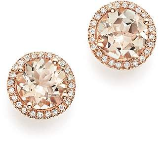 Bloomingdale's Morganite & Diamond Halo Stud Earrings in 14K Rose Gold - 100% Exclusive