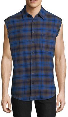 Decree Mens Sleeveless Plaid Button-Front Shirt