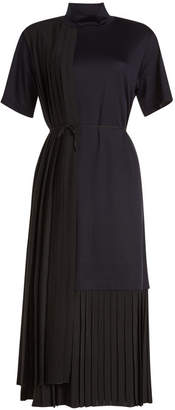 Jil Sander Navy Cotton Dress with Pleated Panels