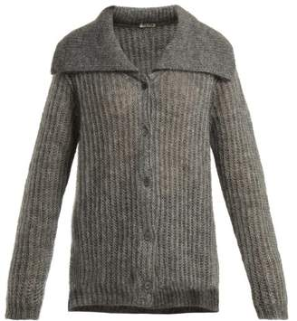 Miu Miu - Mohair Blend Ribbed Knit Cardigan - Womens - Grey