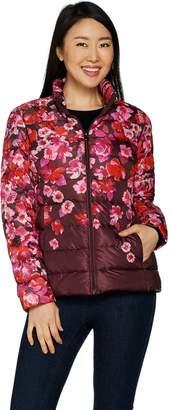 Isaac Mizrahi Live! Packable Engineered Floral Print Puffer Jacket