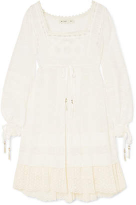 Etro Lace-trimmed Printed Cotton And Silk-blend Voile Dress - Ivory