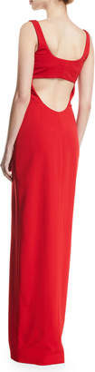 Neiman Marcus Cushnie Scoop-Neck Sleeveless 2-Way Contrast Zipper Fitted Column Evening Gown