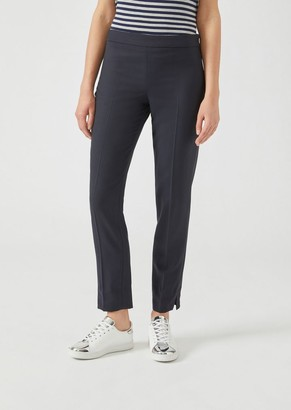 Emporio Armani Stretch Wool Cigarette Trousers With Hem Slits