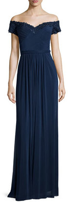 La Femme Beaded Off-the-Shoulder Gown, Navy $438 thestylecure.com