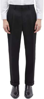 Calvin Klein Stripe outseam roll cuff wool twill pants