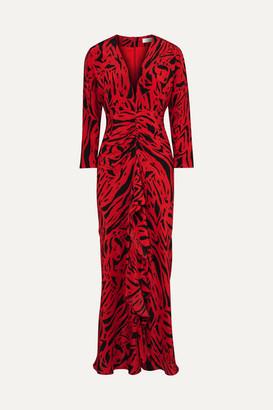 RIXO London - Adriana Animal-print Silk Maxi Dress - Red