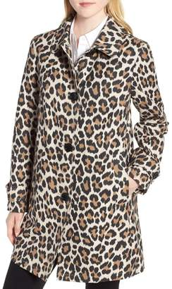 Kate Spade New York Leopard Print Water Repellent Coat