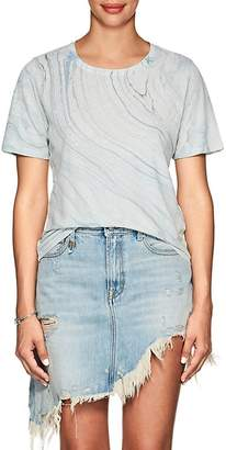 Raquel Allegra Women's Marble-Print Linen-Cotton T-Shirt