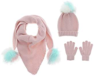 Capelli New York Knit Hat, Scarf & Gloves Set with Faux Fur Pompoms