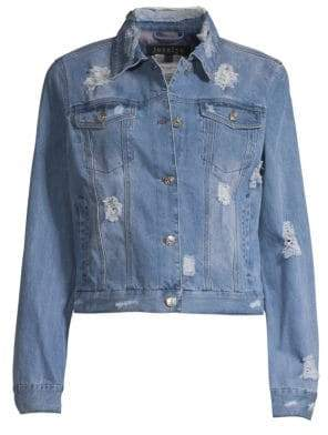 Jocelyn Feather Panel Distressed Denim Jacket