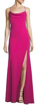 Fame & Partners Crepe Crisscross-Back Sleeveless Gown