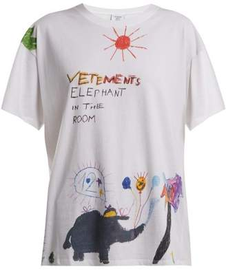 Vetements - Crayon Elephant Print Cotton T Shirt - Womens - White Multi