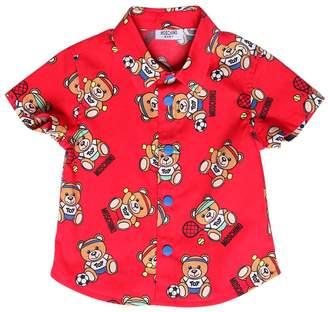 Moschino Bear Print Stretch Cotton Poplin Shirt
