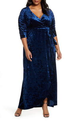 Kiyonna Cara Crushed Velvet Wrap Gown