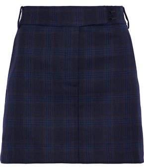 Tibi Checked Wool Mini Skirt