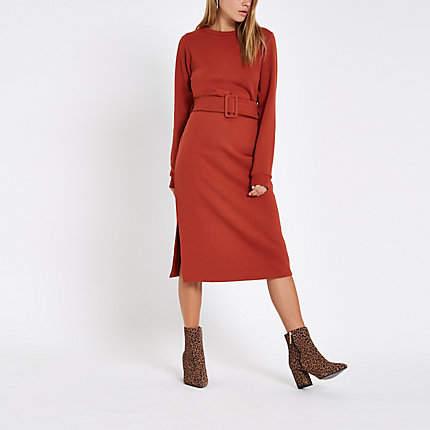 Womens Orange belted sweater dress