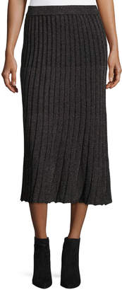 Rebecca Taylor Lurex Metallic Ribbed Midi Skirt