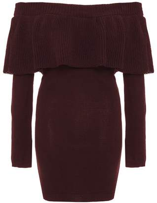 Quiz Wine Knit Ruffle Detail Bardot Jumper Dress