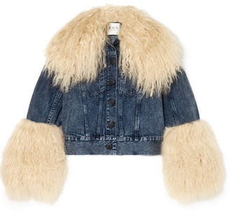 Sea Jocelyn Shearling-trimmed Denim Jacket - Mid denim