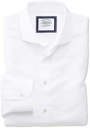Charles Tyrwhitt Slim Fit Spread Collar Business Casual Linen Cotton White Cotton Linen Mix Dress Shirt Single Cuff Size 15/33