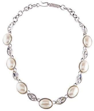 Saint Laurent Faux Pearl & Crystal Collar Necklace