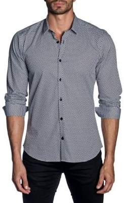 Jared Lang Woven Dotted Trim-Fit Button-Down Shirt